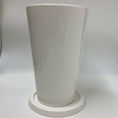 大鉢プランターシンプルおすすめ陶器ホワイト白植木鉢丸型リビング観葉植物通販正面