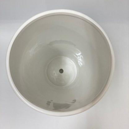 大鉢プランターシンプルおすすめ陶器ホワイト白植木鉢丸型リビング観葉植物通販上部