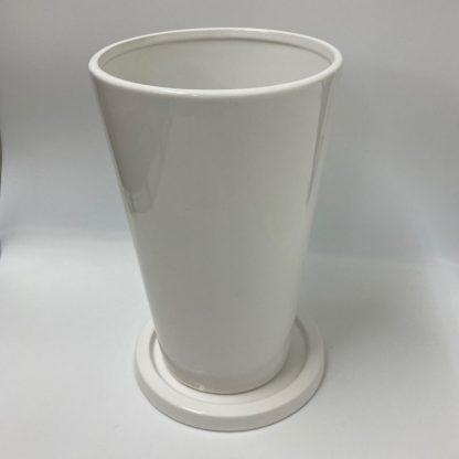 大鉢プランターシンプルおすすめ陶器ホワイト白植木鉢丸型リビング観葉植物通販斜め上