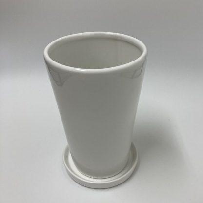 おすすめプランターシンプルホワイト白4号7号サイズ陶器おしゃれ植木鉢受け皿インテリア斜め上