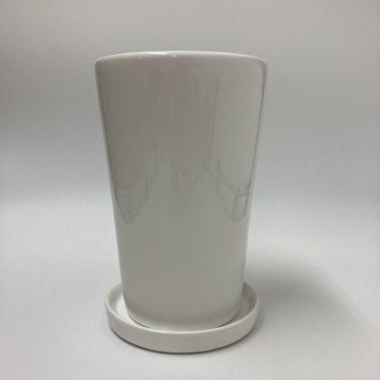おすすめプランターシンプルホワイト白4号7号サイズ陶器おしゃれ植木鉢受け皿インテリア上部