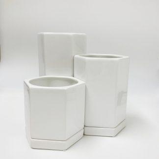 白の植木鉢オシャレ陶器多角形シンプルモダンかわいいインテリア