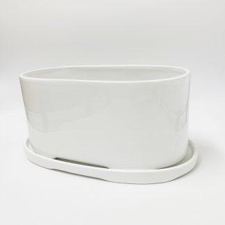 白オシャレ陶器ハーブ植木鉢シンプルモダン室内オーバル