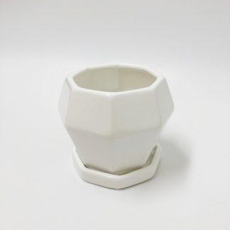オシャレ陶器小さい植木鉢白多角形シンプルモダンかわいいサイズ室内