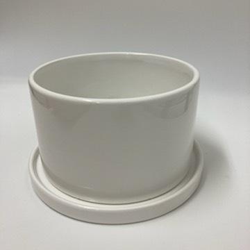 浅鉢ホワイト植木鉢寄せ植えにおすすめ受け皿付き正面