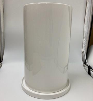 おすすめ円筒形大鉢ホワイト植木鉢正面