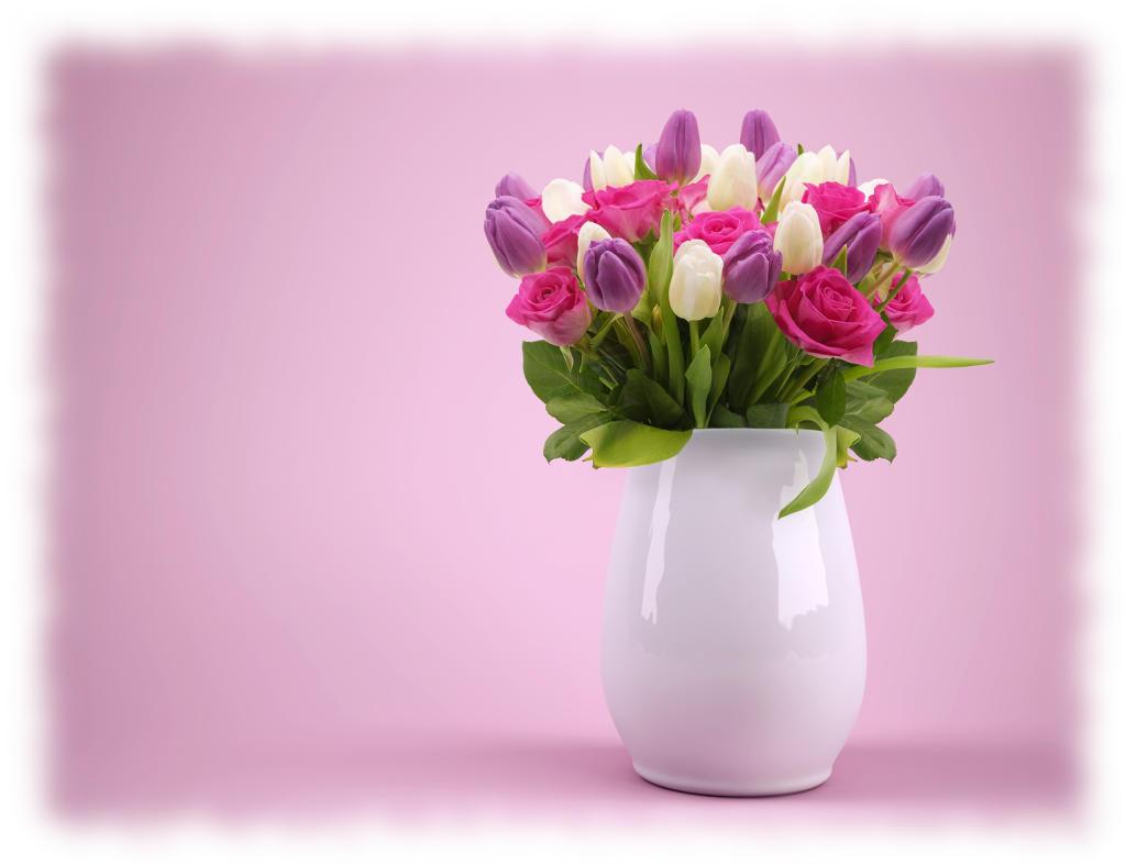 西洋風陶器花瓶デザイン薔薇とチューリップ
