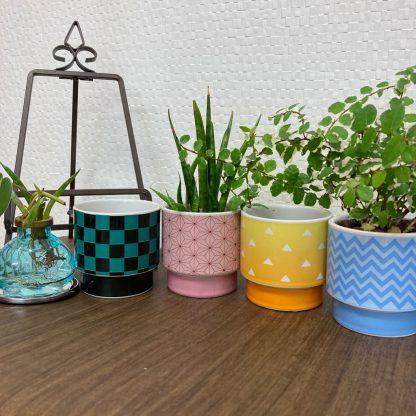 インテリアにおすすめ伝統模様カラフル植物植木鉢フラワーベース